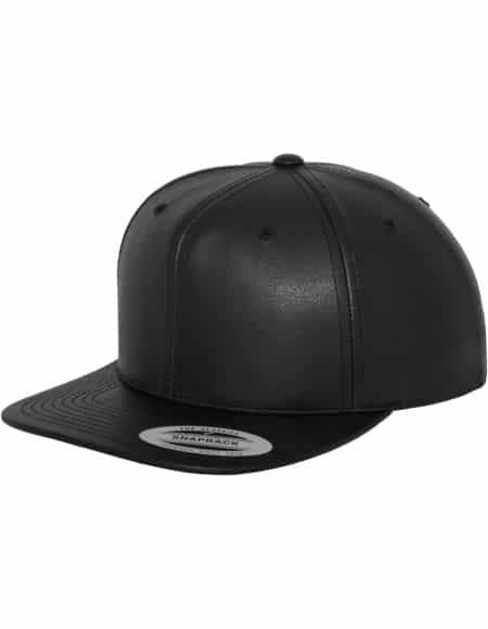 Full Leather Imitation Snapback black-black 1