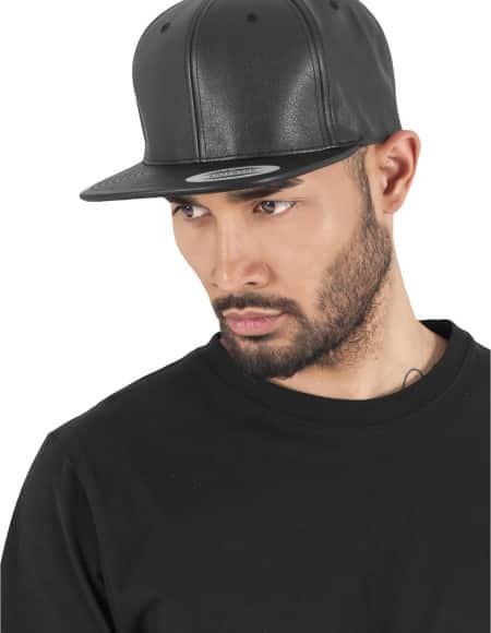 Full Leather Imitation Snapback black-black