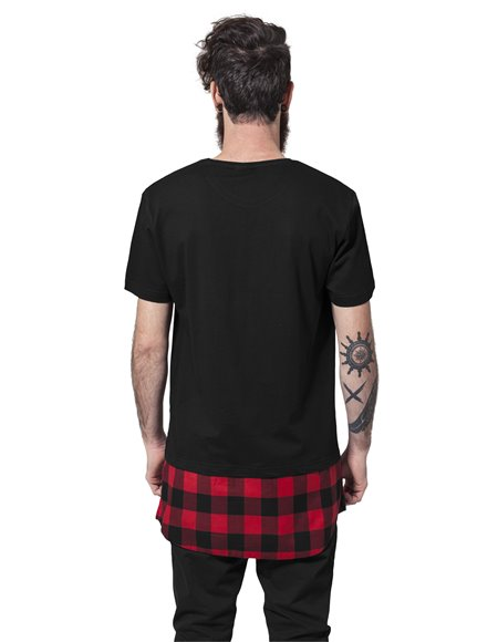 Long Shaped Flanell Bottom Tee black-black-red 1