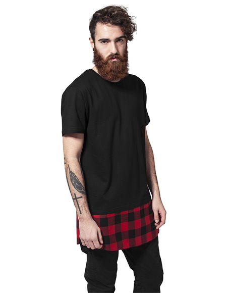 Long Shaped Flanell Bottom Tee black-black-red