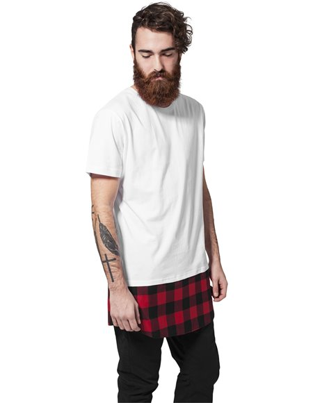 Long Shaped Flanell Bottom Tee white-black-red