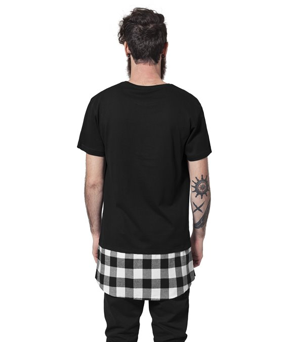 Long Shaped Flanell Bottom Tee black-black-white 1