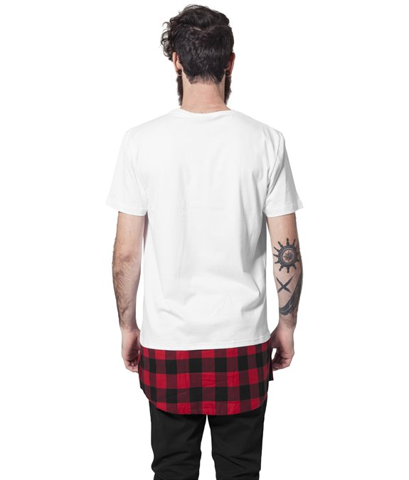 Long Shaped Flanell Bottom Tee white-black-red 1