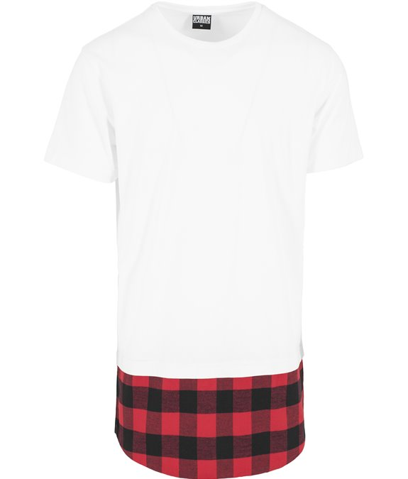 Long Shaped Flanell Bottom Tee white-black-red 2