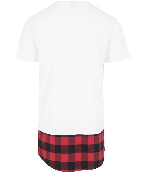 Long Shaped Flanell Bottom Tee white-black-red 3