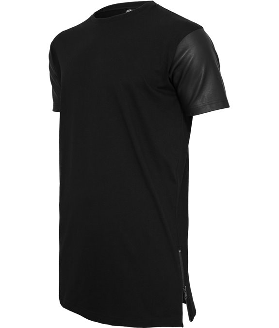 Long Zipped Leather Imitation Sleeve Tee black-black 2