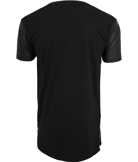 Long Zipped Leather Imitation Sleeve Tee black-black 3