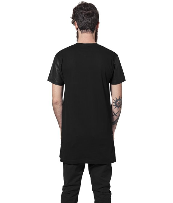Long Zipped Leather Imitation Sleeve Tee black-black1